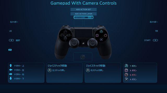 Steam 版 MONSTER HUNTER WORLD でデュアルショック 4 コントローラーのタッチパッド設定を最適化する方法、タッチパッド部分にあったマウス風のジョイスティック表示が消えているのを確認後、スプリットパッドに切り替えを選択、長方形アイコンから正方形 2個アイコンに変更されているのを確認する