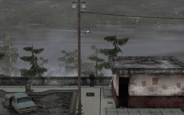 SILENT HILL 2 Enhanced Edition インストール方法と日本語化メモ、ReShade & Filters インストール、OpenGL 版 ReShade & Filters オフ(デフォルト画質)、Print Screen キーで SILENT HILL 2 フォルダに png 形式でゲーム画像を保存