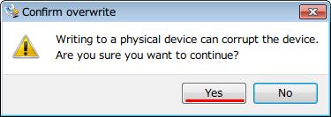 SeaTools Bootable USB Kit、Win32 Disk Imager で「Image File」で SeaTools_Bootable_USB_Kit.zip に入っている SeaTools.img を選択、右側の「Device」で USB メモリーのドライブレターを選択、「Write」ボタンにマウスカーソルを合わせると「Write data in Image File to Device」と表示、「Write」ボタンをクリックすると「Writing to a physical device can corrupt the device. Are you sure you want to continue ?」と表示されるので USB メモリのデータを完全に消去してもいい状態なら「Yes」ボタンをクリック