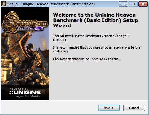 Baldur's Gate Enhanced Edition でサウンドカード Sound Blaster X-Fi 使用時に発生するサウンドノイズ対処方法、Unigine Heaven Benchmark (Basic Edition) インストール、NEXT ボタンクリック