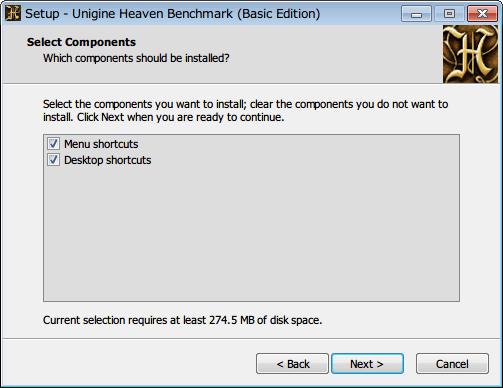 Baldur's Gate Enhanced Edition でサウンドカード Sound Blaster X-Fi 使用時に発生するサウンドノイズ対処方法、Unigine Heaven Benchmark (Basic Edition) インストール、必要なファイルを取り出すだけなので、Menu shortcuts と Desktop shortcuts のチェックマークは外しておく
