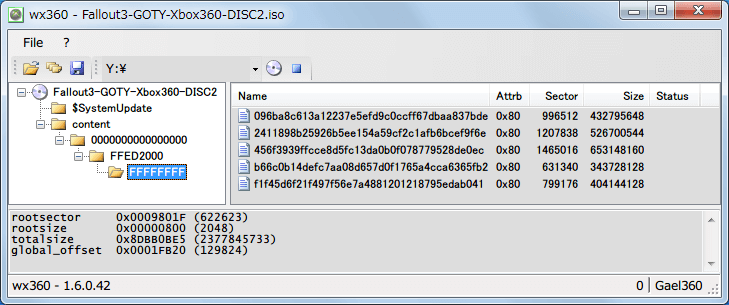 wxRipper 1.2.0.42 Windows7 x64 で保存した Xbox360 ISO ファイルの中身を閲覧する方法、ISO ファイル Xbox360 版 Fallout 3 Game of the Year Edition Disc2(DLC) を wx360 1.6.0.42 Windows7 x64 で開いたところ