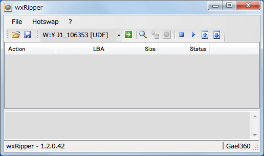 wxRipper 1.2.0.42 Windows7 x64 を起動して 2層映像 DVD を DVD ドライブに挿入する