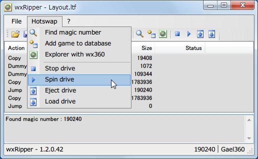 wxRipper 1.2.0.42 Windows7 x64 を起動して 2層映像 DVD を DVD ドライブに挿入、ディスクを入れた DVD ドライブレターを選択して Hotswap → Find magic number をクリック、うまくいくと Found magic number 数字(DVD によって違う、プライベートライアンの場合 190240)が表示される、File → Save layout file... をクリックしてファイル(.ltf)を保存、ltf ファイルをテキストエディタで開き3行目の C を D に変更して保存、wxRipper File → Opne layout file... をクリックして先ほど保存したファイル(.ltf)を開く、3行目の Copy が Dummy に変更、Hotswap → Stop drive をクリックしてディスクの回転状態を止める、DVD ドライブのトレイをイジェクトピンで強制イジェクトして Xbox360 ディスクに交換してトレイを手動で閉じる、Hotswap → Spin drive をクリックしてディスクを回転させる、ディスク回転時に異音がしたらトレイの閉じ方が失敗なのでイジェクトボタンを押してやり直し