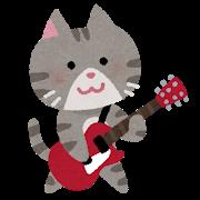 ネコ(エレキを弾く