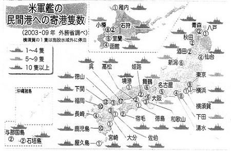 米軍艦の民間港への寄稿隻数