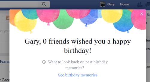 0人の友達が誕生日を祝ってくれましたよ