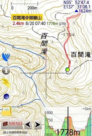 百間滝@御嶽山・GPSログ
