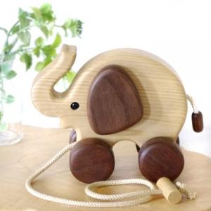 風工房_木のおもちゃ 木製 引き車_ぞうさん_001