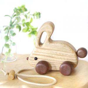 風工房_木のおもちゃ 木製 引き車_うさちゃんカー_001