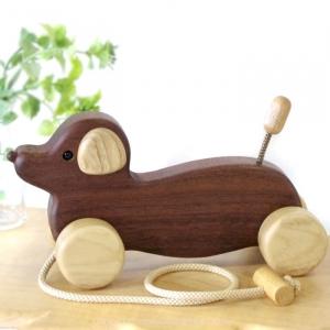 風工房_木のおもちゃ 木製 引き車_ダックスフンド(ウォル)_001
