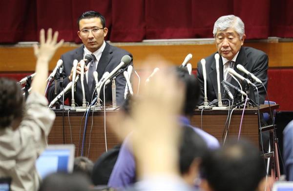 日大アメフト緊急記者会見の内田正人前監督と井上奨コーチ
