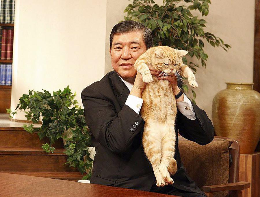 石破茂氏がアップした『宙吊り猫写真』の波紋「ありえない抱き方だ」の画像