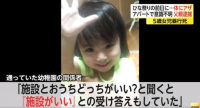 船戸結愛(ゆあ)ちゃん(当時5歳)が父親から殴られた後に死亡した事件の画像