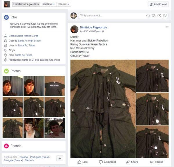米テキサス高校銃乱射、容疑者の写真に日本の旭日旗ピンバッチ!の画像16-1