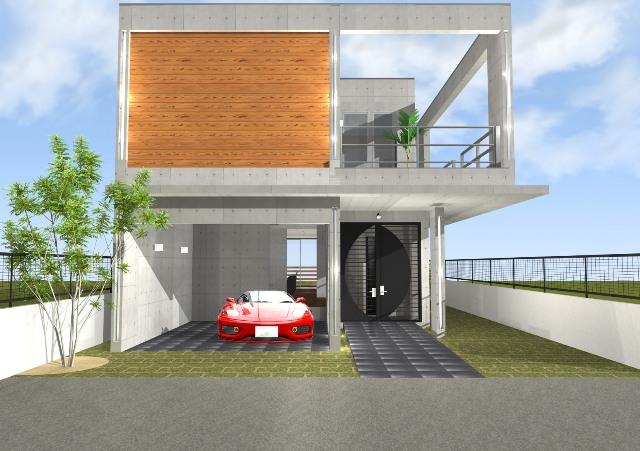 滋賀県大津市のこだわりの鉄筋の家 ガレージハウス かっこいい家 吹き抜けリビング