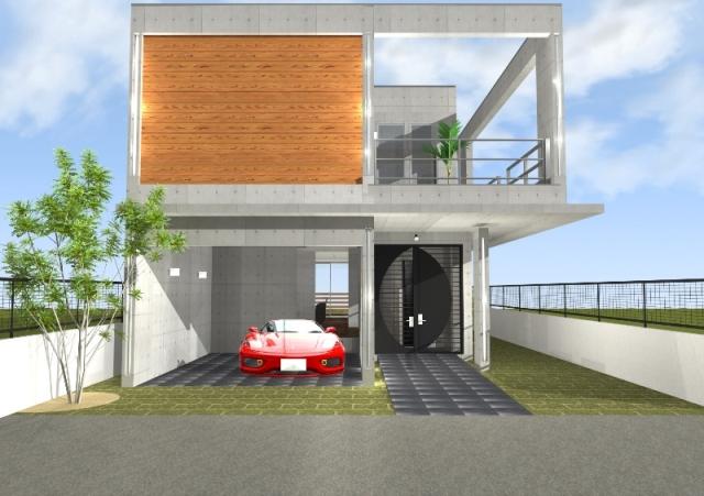 滋賀県大津市和邇南浜のRC造,フェラーリのガレージハウス