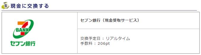 ポイントエクスチェンジセブン銀行現金