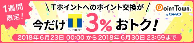 ポイントタウンTポイント交換レート3%増