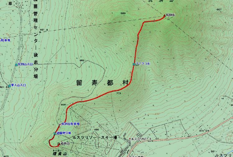 尻別岳登山ルート図