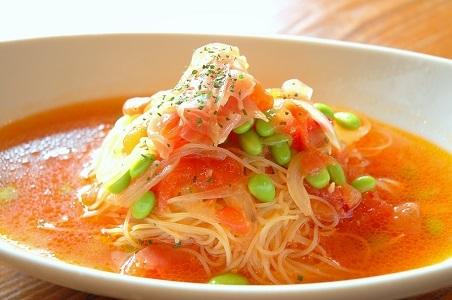冷製生ハムと枝豆の生トマトパスタ (2) - コピー