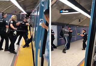 【Fight!】警察官4人いても関係ない大男!