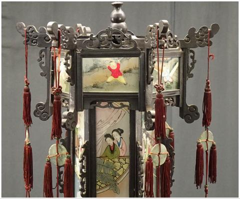 00 ran 吊り灯籠 美人ガラス絵b 硝子絵 肉筆 中国美術