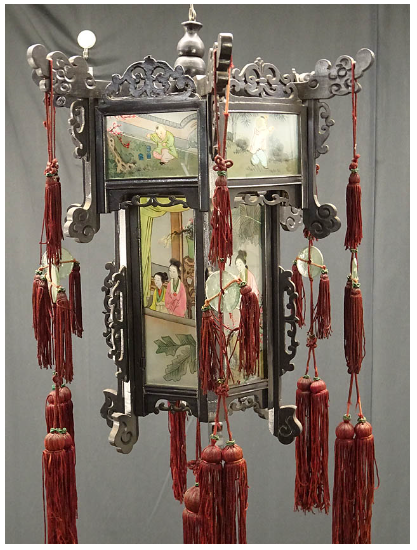 00 ran 吊り灯籠 美人ガラス絵 硝子絵 肉筆 中国美術
