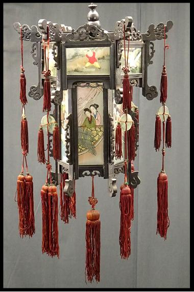 00 ran 吊り灯籠 美人ガラス絵a 硝子絵 肉筆 中国美術