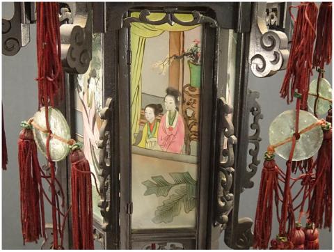 00 ran 吊り灯籠 美人ガラス絵c 硝子絵 肉筆 中国美術