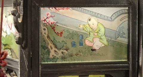 00 ran 吊り灯籠 美人ガラス絵b-5 硝子絵 肉筆 中国美術