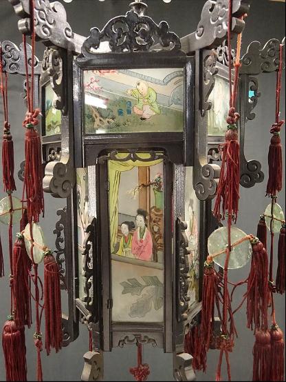 00 ran 吊り灯籠 美人ガラス絵b-3 硝子絵 肉筆 中国美術