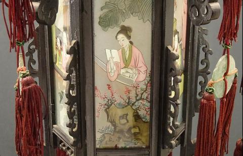 00 ran 吊り灯籠 美人ガラス絵b-4 硝子絵 肉筆 中国美術