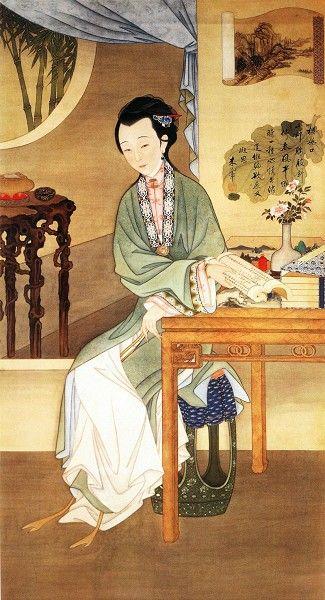 """00 bun ko 故宮館藏""""十二美人圖"""" 雍親王題書堂深居圖屏『觀書沉吟』 1709-1723"""