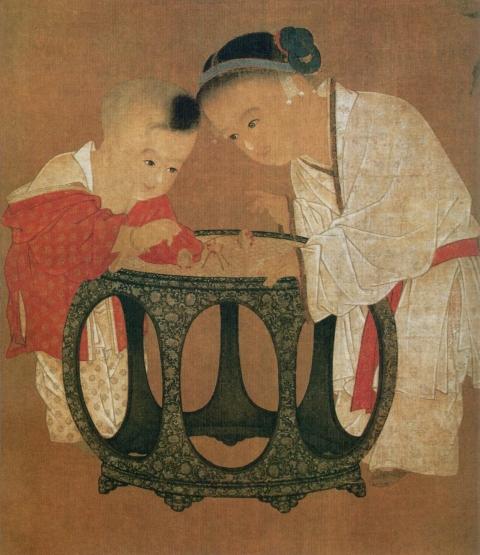00 bun ko 蘇漢臣『秋庭戯嬰図』(部分、北宋末〜南宋時代)(台北故宮博物院)