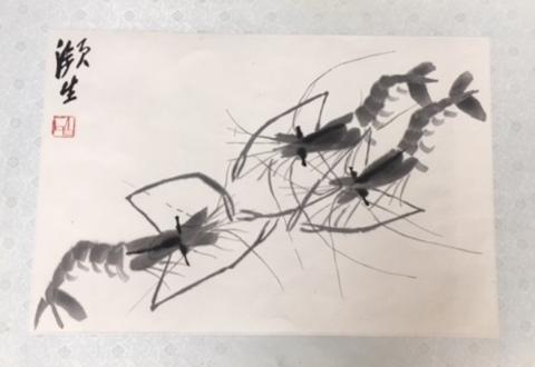 z 斉白石 水墨蝦図-1