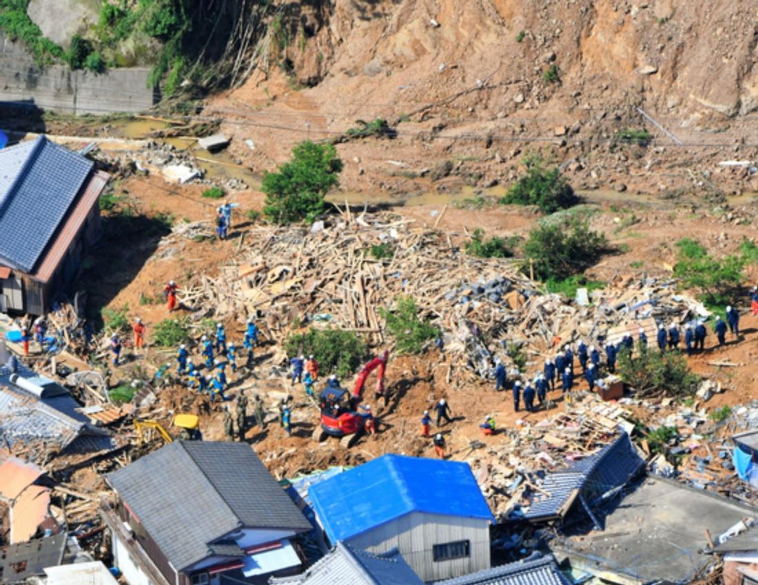 愛媛県宇和島市の土砂崩れ現場