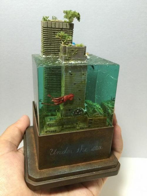 【画像】小さいのに超リアル!水没都市のジオラマが凄い!!の画像(8枚目)