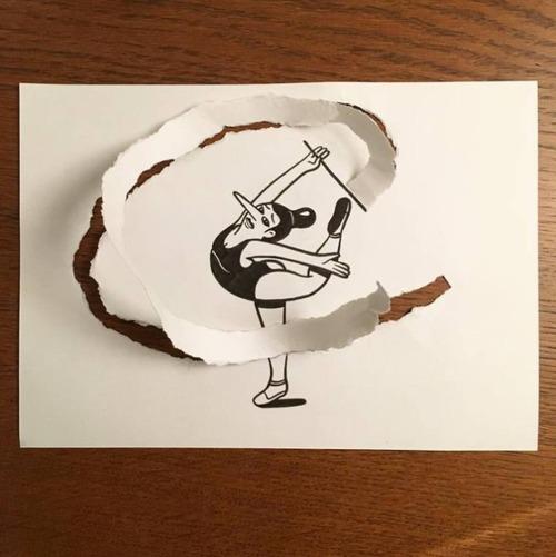 1枚の紙とペンで作った3Dアートの画像(1枚目)