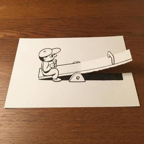 1枚の紙とペンで作った3Dアートの画像(23枚目)