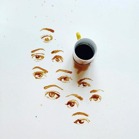 【画像】こぼれたコーヒーのシミで絵を描く!洋風の水墨画のようなアート!!の画像(5枚目)