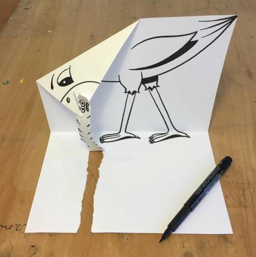 1枚の紙とペンで作った3Dアートの画像(22枚目)