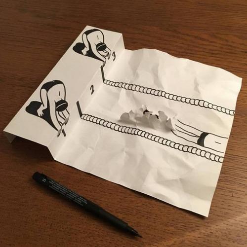1枚の紙とペンで作った3Dアートの画像(2枚目)