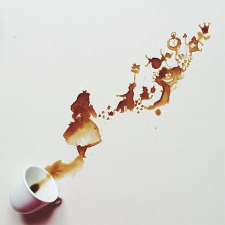 【画像】こぼれたコーヒーのシミで絵を描く!洋風の水墨画のようなアート!!の画像(7枚目)
