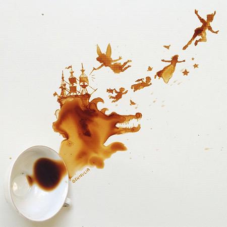 【画像】こぼれたコーヒーのシミで絵を描く!洋風の水墨画のようなアート!!の画像(4枚目)