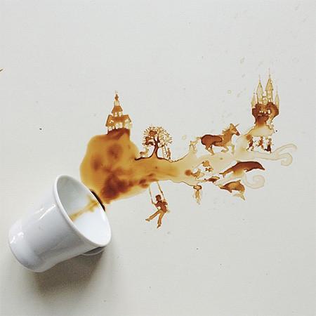 【画像】こぼれたコーヒーのシミで絵を描く!洋風の水墨画のようなアート!!の画像(11枚目)