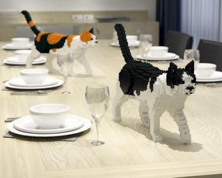 レゴで作ったネコの置物02