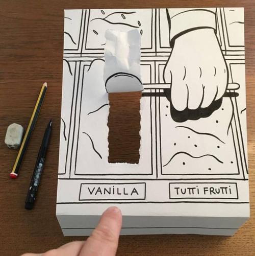 1枚の紙とペンで作った3Dアートの画像(8枚目)