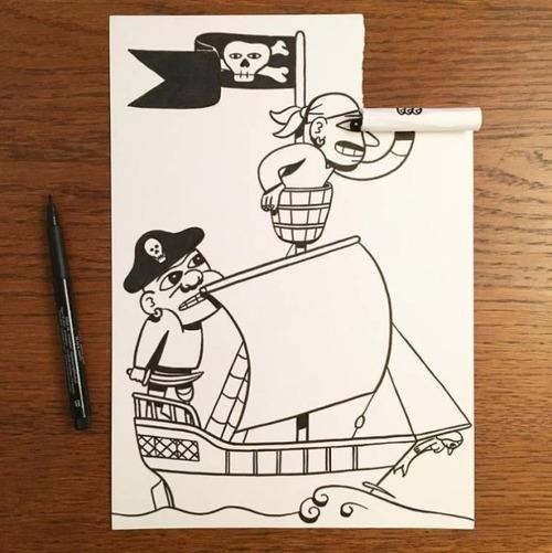 1枚の紙とペンで作った3Dアートの画像(13枚目)