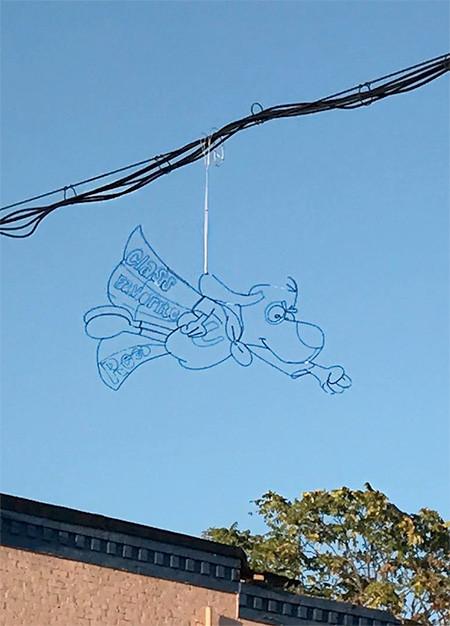 空に絵を描くワイヤーアート04
